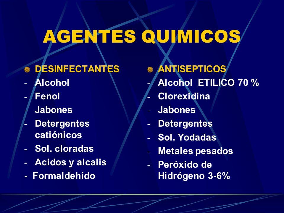 AGENTES QUIMICOS DESINFECTANTES Alcohol Fenol Jabones