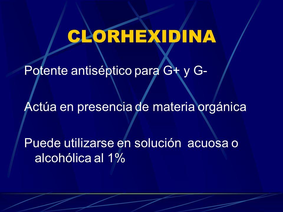 CLORHEXIDINA Potente antiséptico para G+ y G-