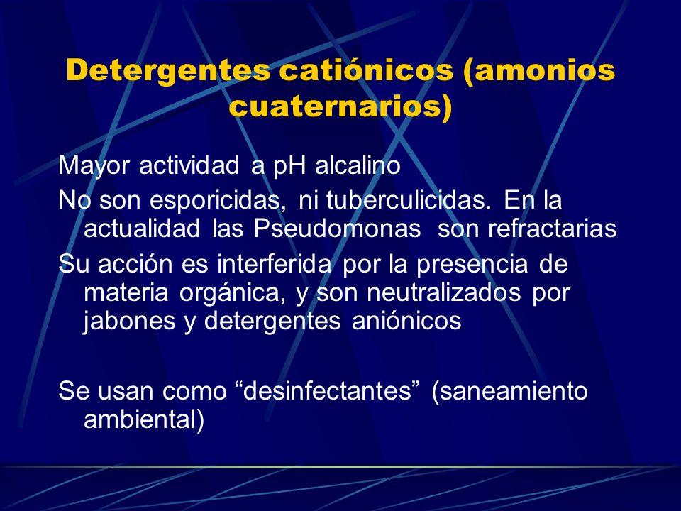 Detergentes catiónicos (amonios cuaternarios)