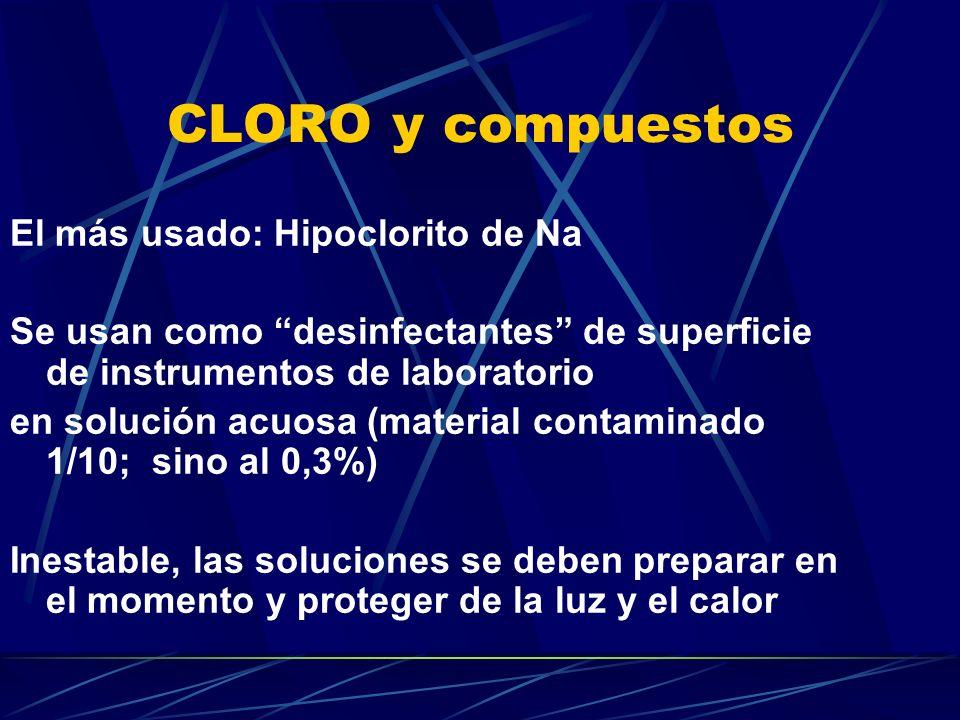 CLORO y compuestos El más usado: Hipoclorito de Na