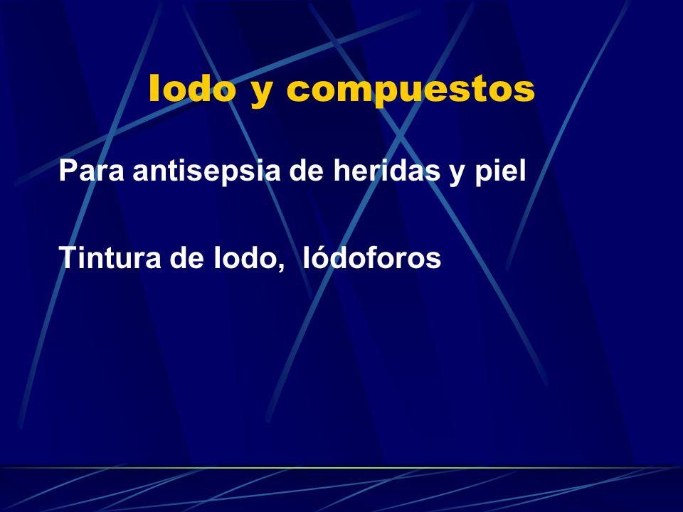 Iodo y compuestos Para antisepsia de heridas y piel