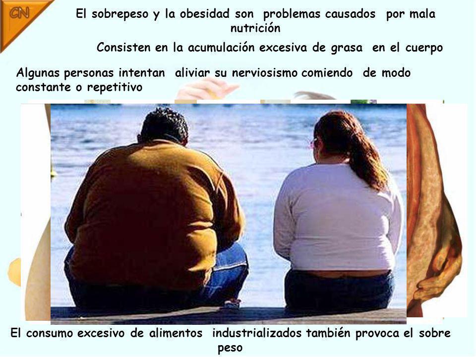 El sobrepeso y la obesidad son problemas causados por mala nutrición