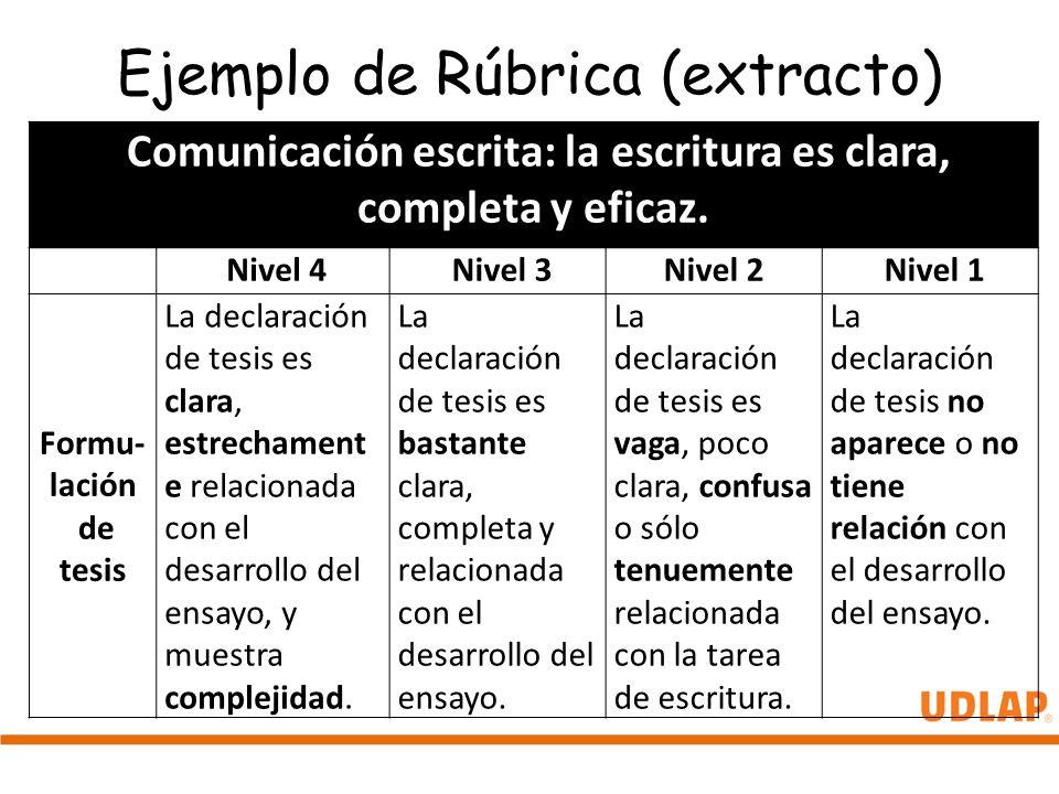 Ejemplo de Rúbrica (extracto)