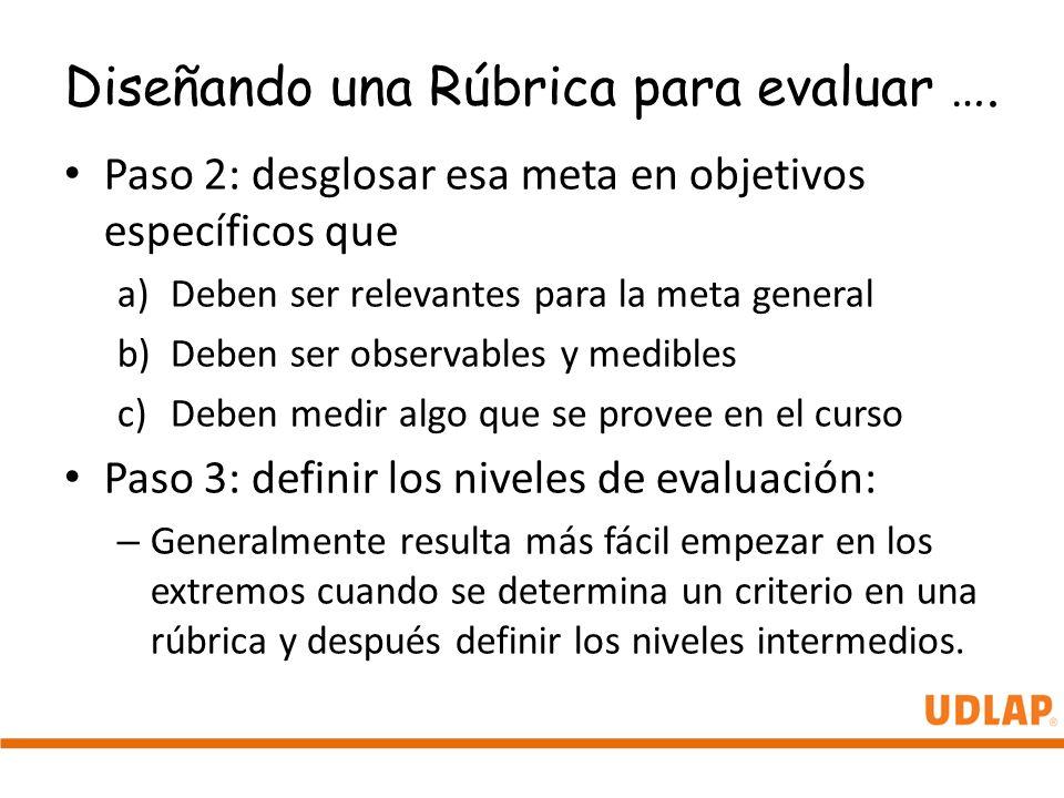 Diseñando una Rúbrica para evaluar ….
