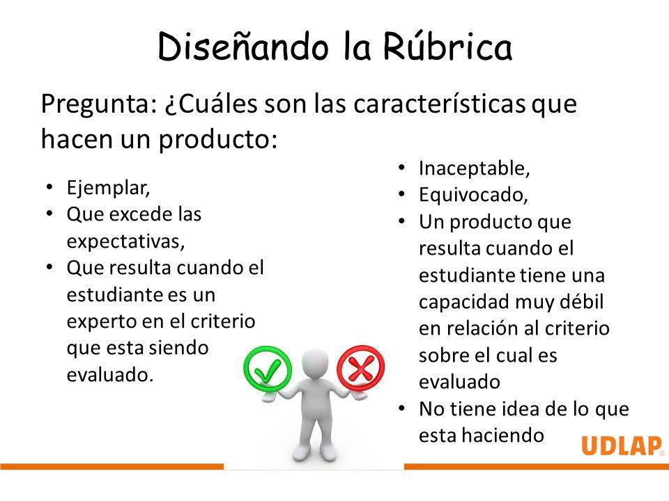 Diseñando la Rúbrica Pregunta: ¿Cuáles son las características que hacen un producto: Inaceptable,