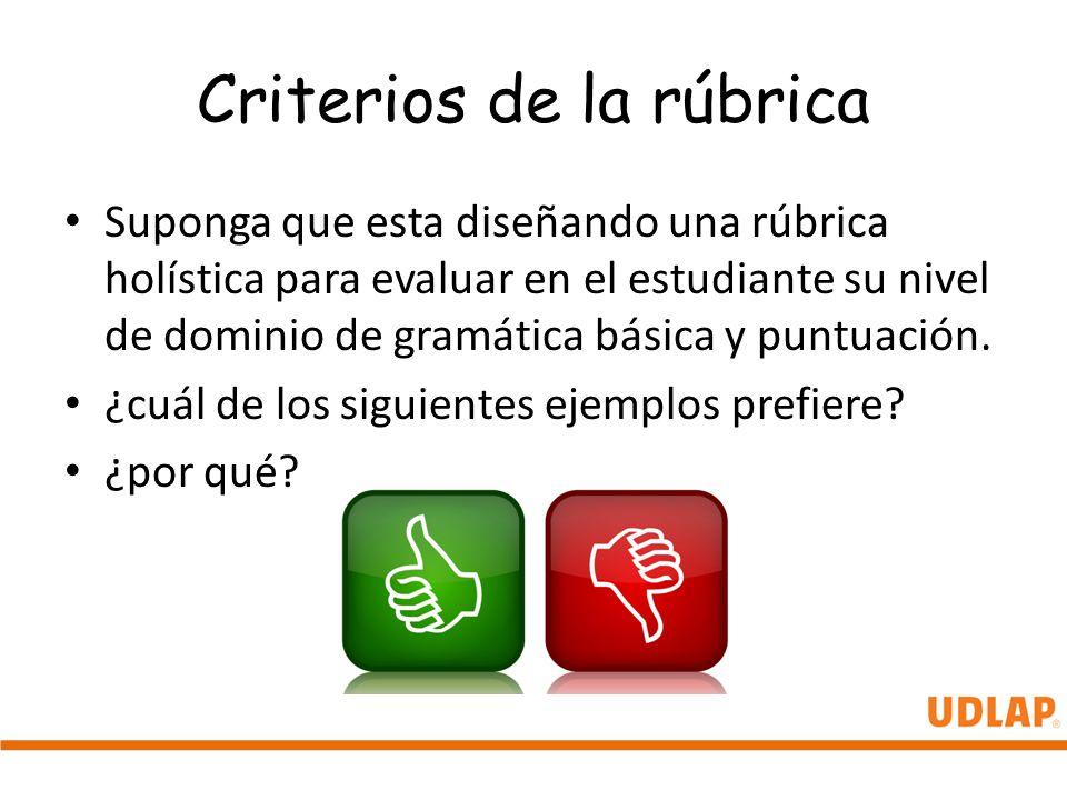 Criterios de la rúbrica