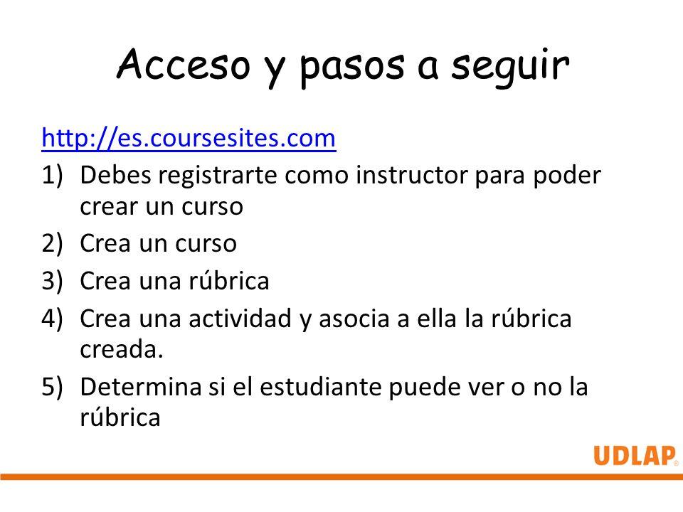 Acceso y pasos a seguir http://es.coursesites.com
