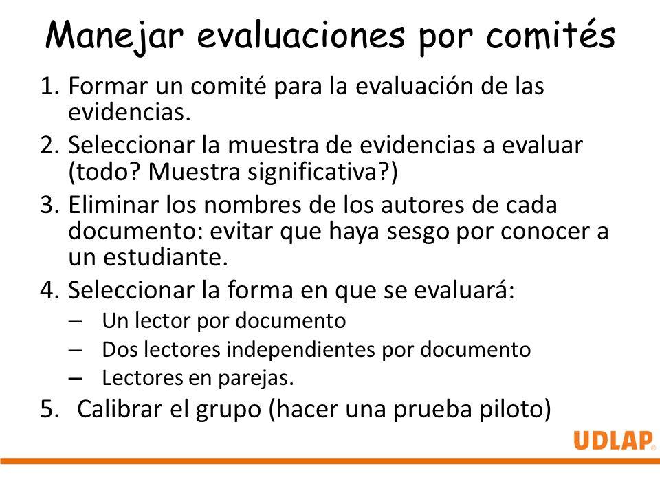 Manejar evaluaciones por comités