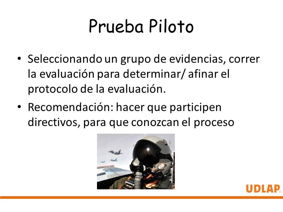 Prueba Piloto Seleccionando un grupo de evidencias, correr la evaluación para determinar/ afinar el protocolo de la evaluación.