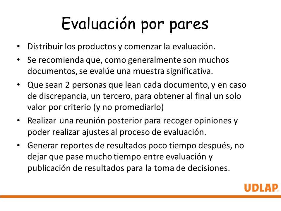 Evaluación por pares Distribuir los productos y comenzar la evaluación.