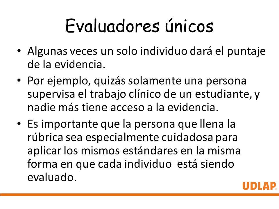 Evaluadores únicos Algunas veces un solo individuo dará el puntaje de la evidencia.