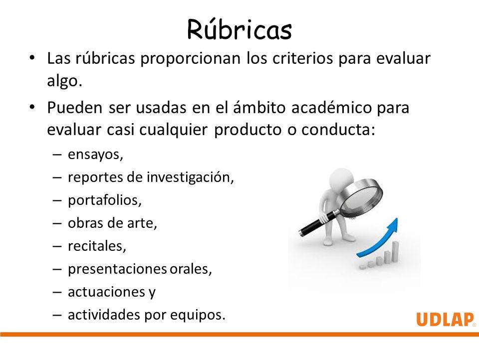 Rúbricas Las rúbricas proporcionan los criterios para evaluar algo.