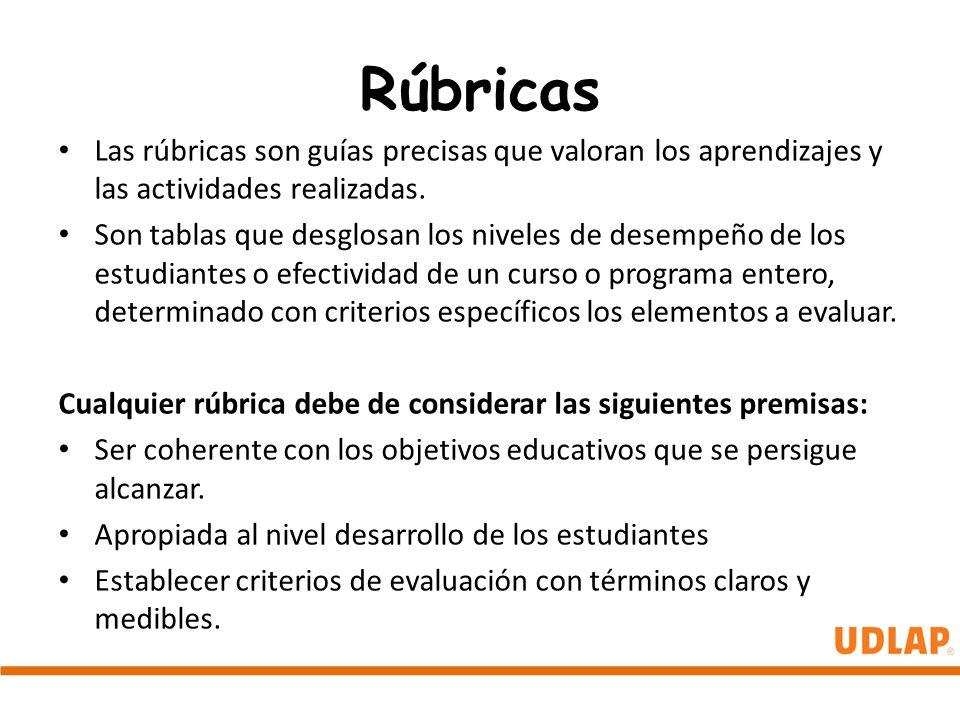 Rúbricas Las rúbricas son guías precisas que valoran los aprendizajes y las actividades realizadas.