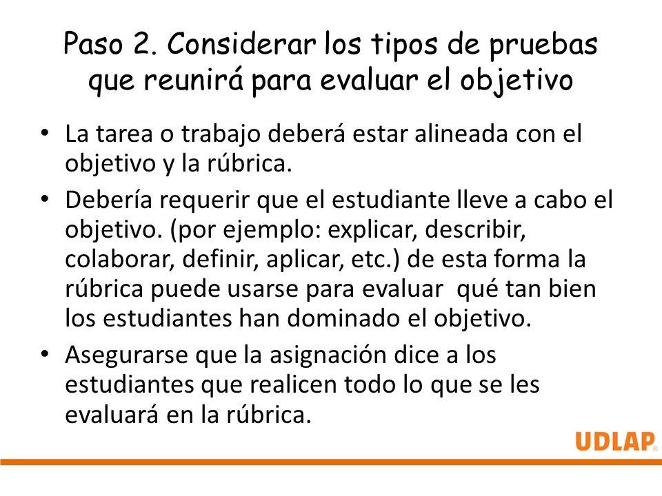 Paso 2. Considerar los tipos de pruebas que reunirá para evaluar el objetivo