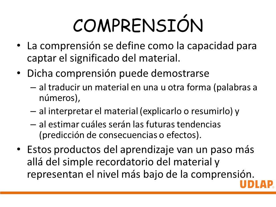 COMPRENSIÓN La comprensión se define como la capacidad para captar el significado del material. Dicha comprensión puede demostrarse.