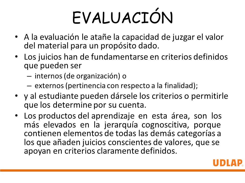 EVALUACIÓN A la evaluación le atañe la capacidad de juzgar el valor del material para un propósito dado.