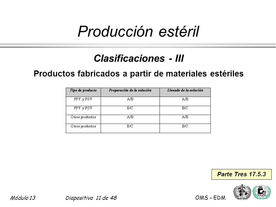 Productos fabricados a partir de materiales estériles