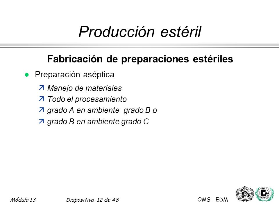 Fabricación de preparaciones estériles