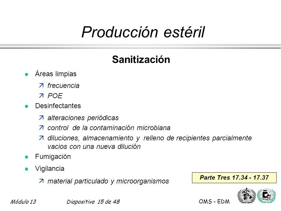 Producción estéril Sanitización Áreas limpias frecuencia POE