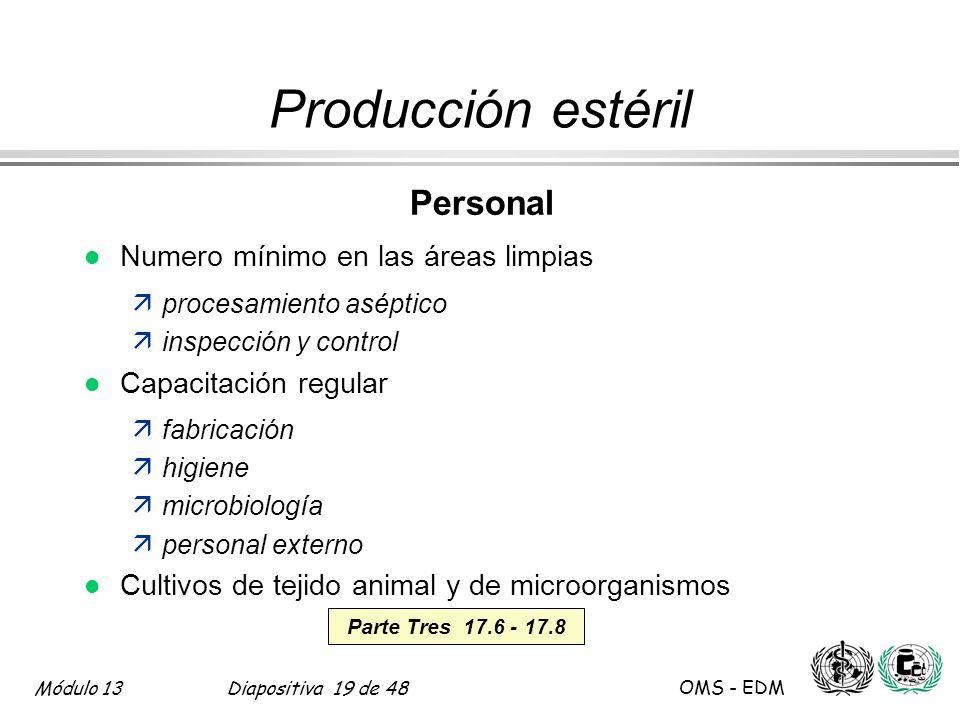 Producción estéril Personal Numero mínimo en las áreas limpias