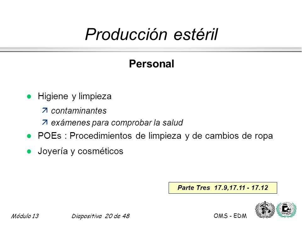 Producción estéril Personal Higiene y limpieza