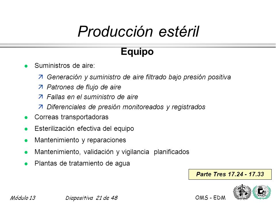 Producción estéril Equipo Suministros de aire: