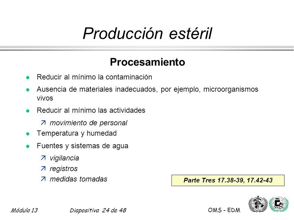 Producción estéril Procesamiento Reducir al mínimo la contaminación