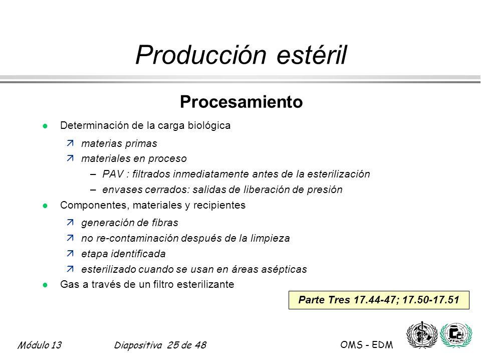 Producción estéril Procesamiento Determinación de la carga biológica