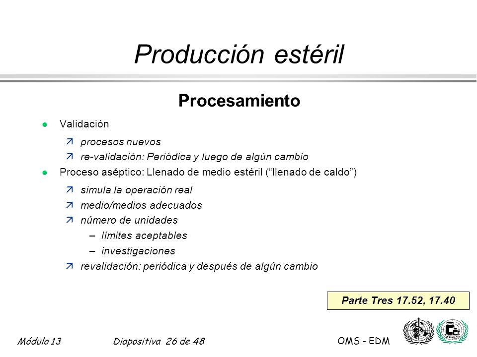 Producción estéril Procesamiento Validación procesos nuevos