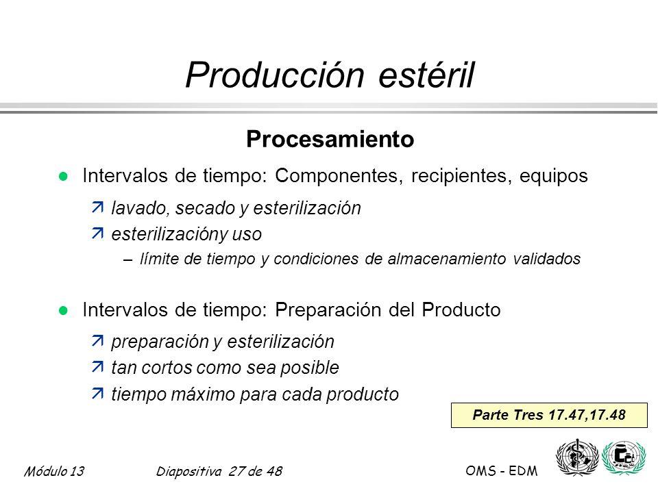 Producción estéril Procesamiento