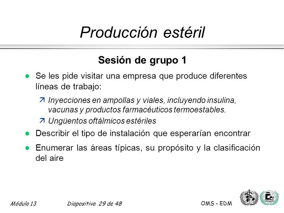 Producción estéril Sesión de grupo 1