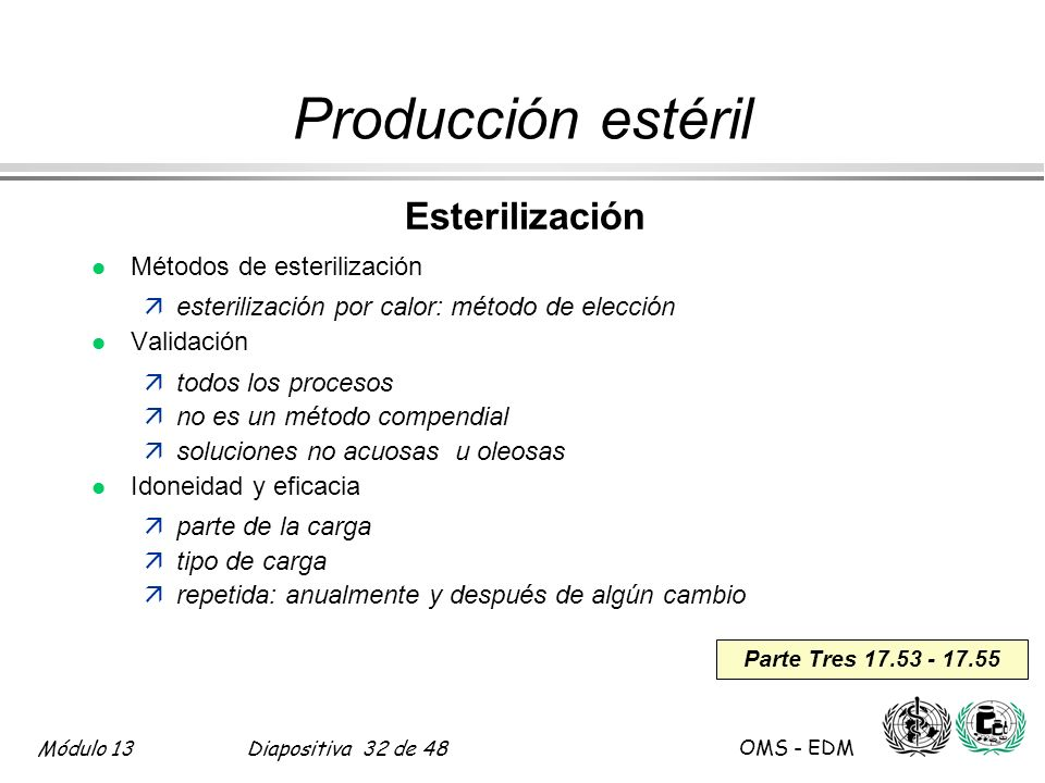 Producción estéril Esterilización Métodos de esterilización