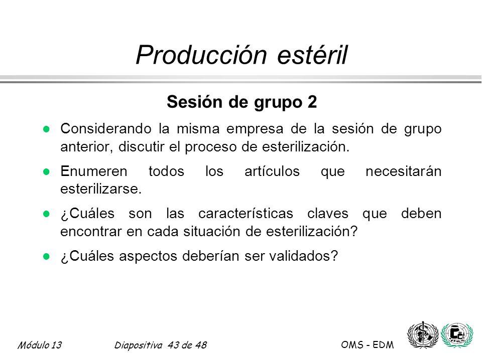 Producción estéril Sesión de grupo 2