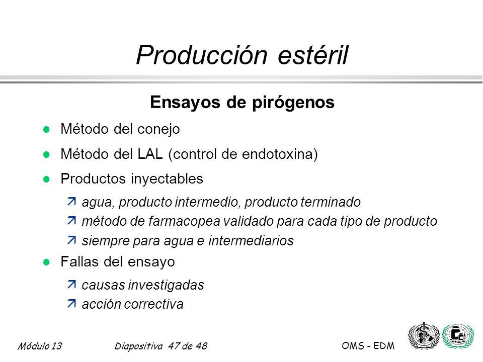 Producción estéril Ensayos de pirógenos Método del conejo