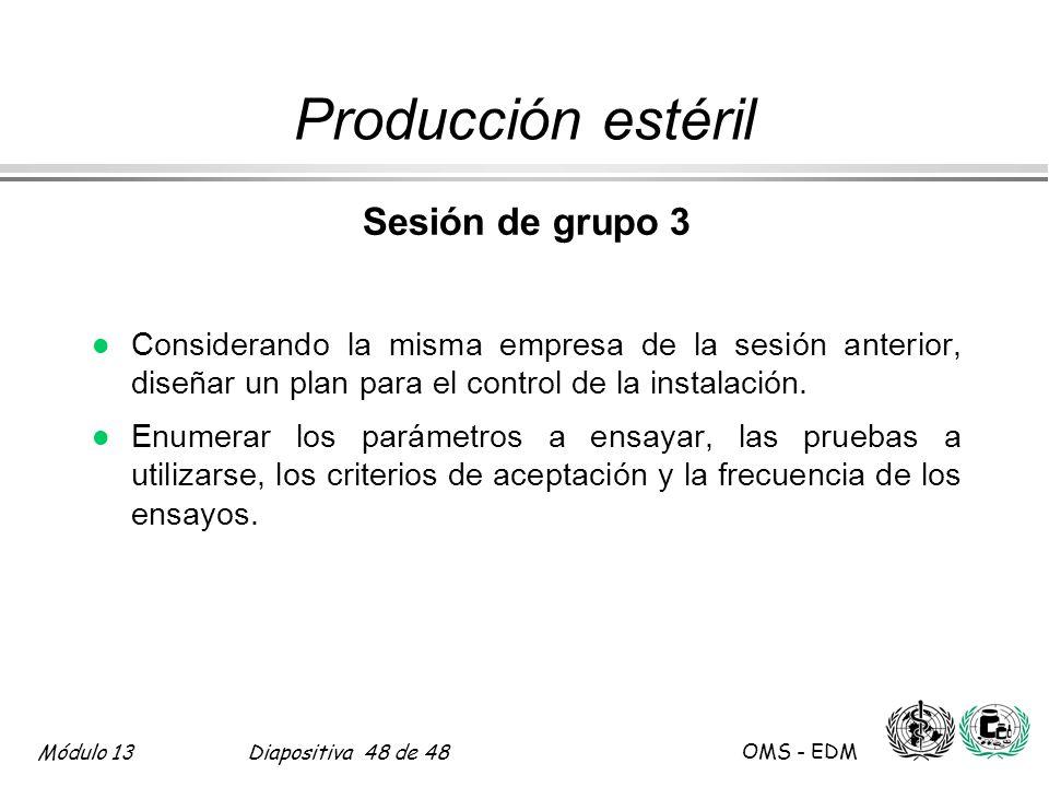 Producción estéril Sesión de grupo 3