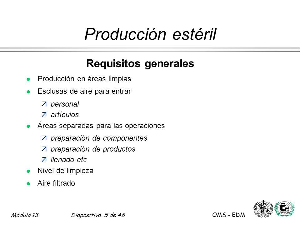 Producción estéril Requisitos generales Producción en áreas limpias
