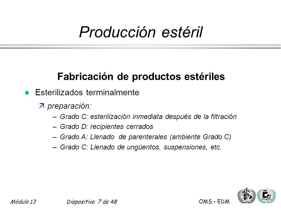 Fabricación de productos estériles