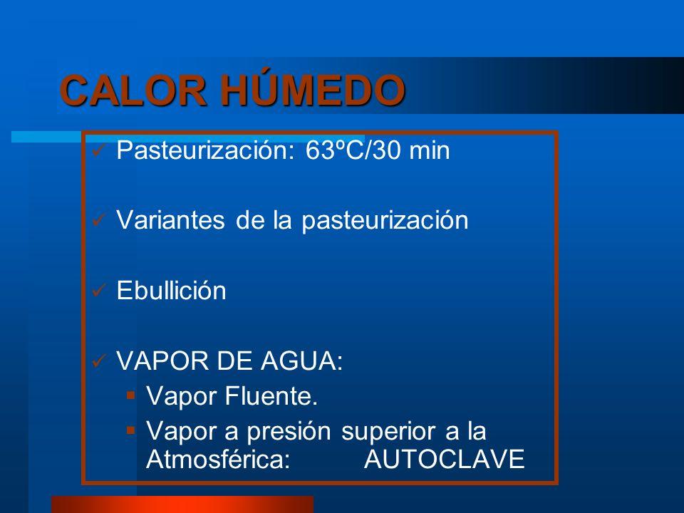 CALOR HÚMEDO Pasteurización: 63ºC/30 min