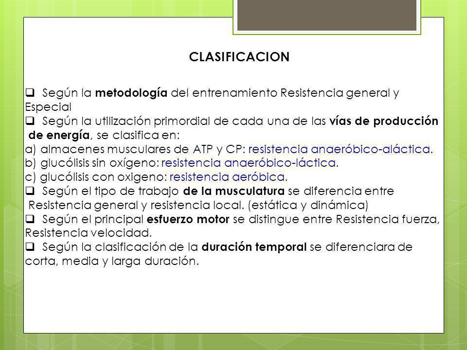 CLASIFICACION Según la metodología del entrenamiento Resistencia general y. Especial.