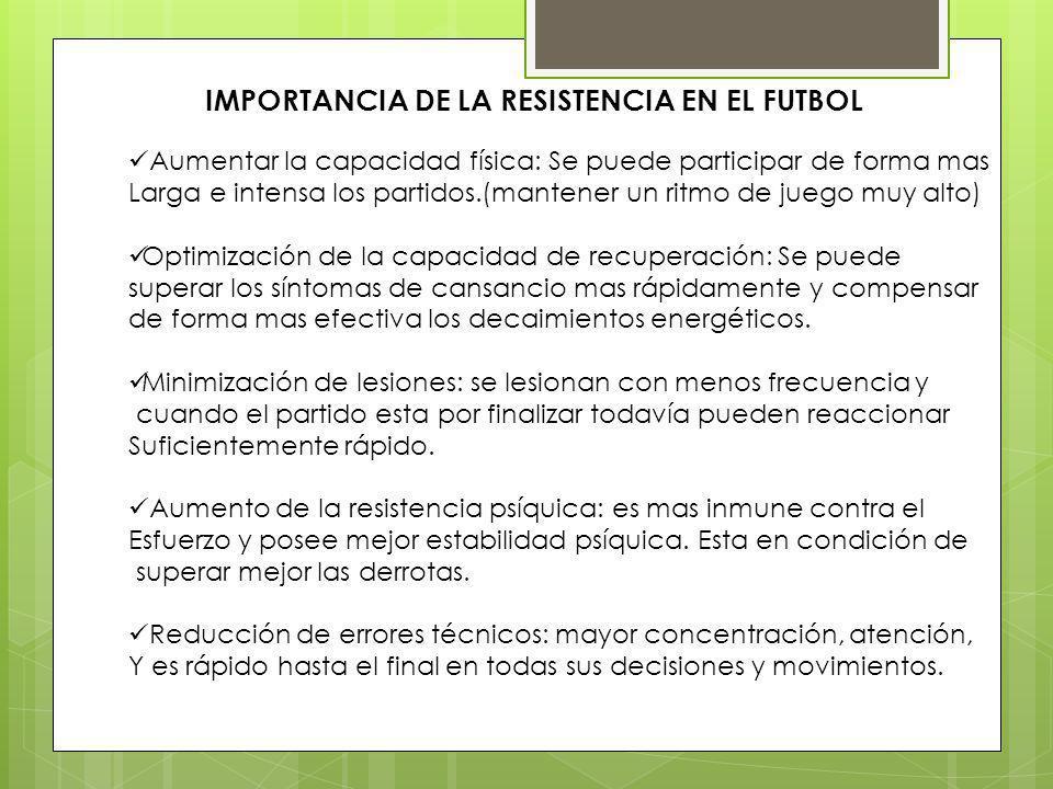 IMPORTANCIA DE LA RESISTENCIA EN EL FUTBOL