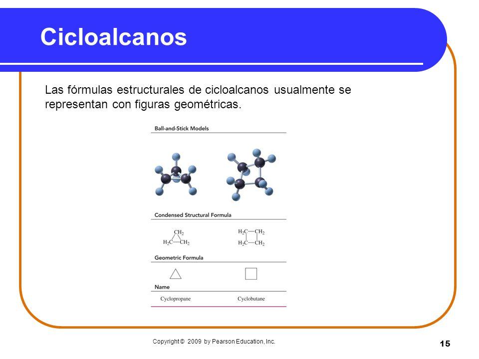 Cicloalcanos Las fórmulas estructurales de cicloalcanos usualmente se representan con figuras geométricas.