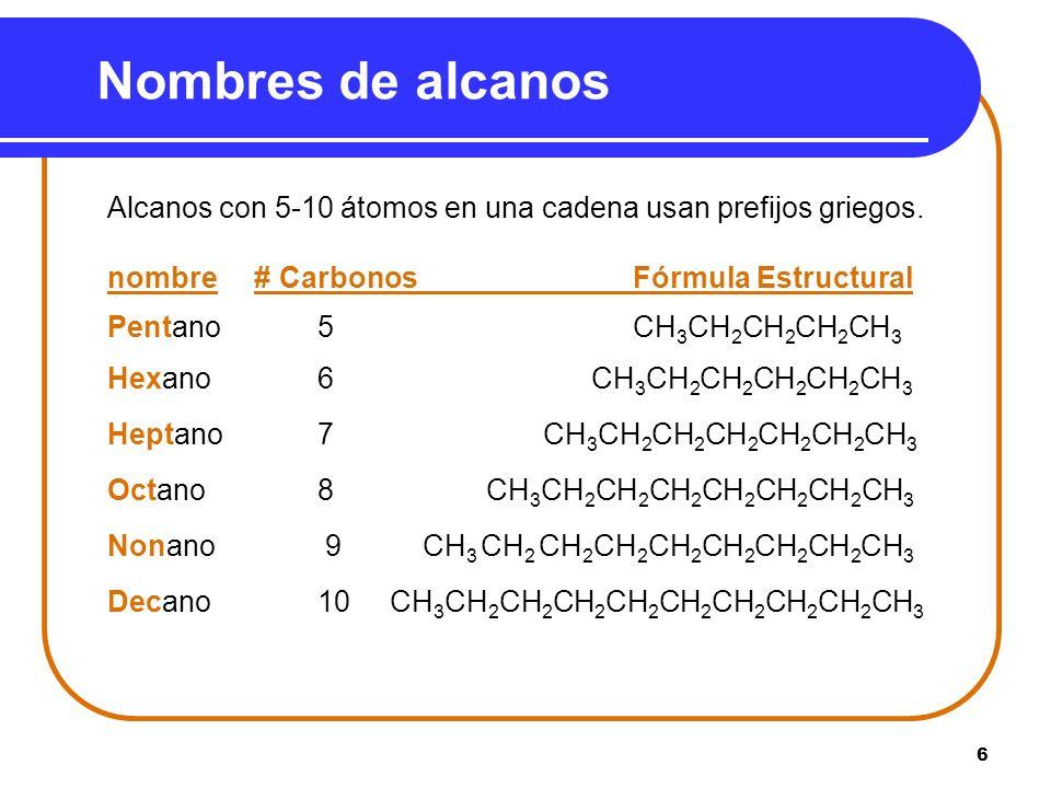 Nombres de alcanos Alcanos con 5-10 átomos en una cadena usan prefijos griegos. nombre # Carbonos Fórmula Estructural.