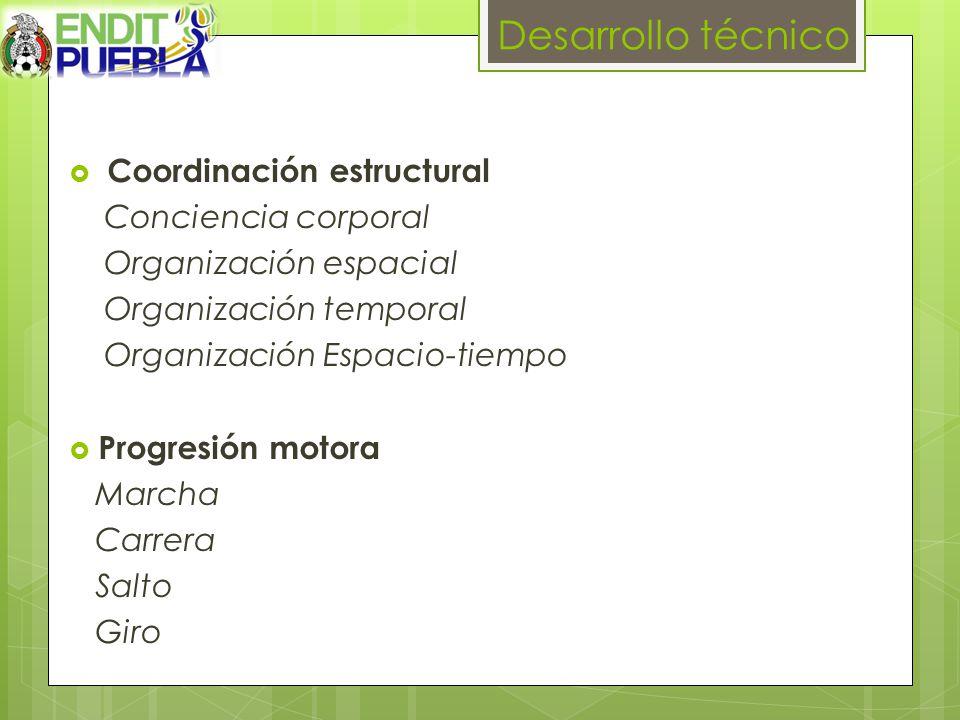 Desarrollo técnico Coordinación estructural Conciencia corporal