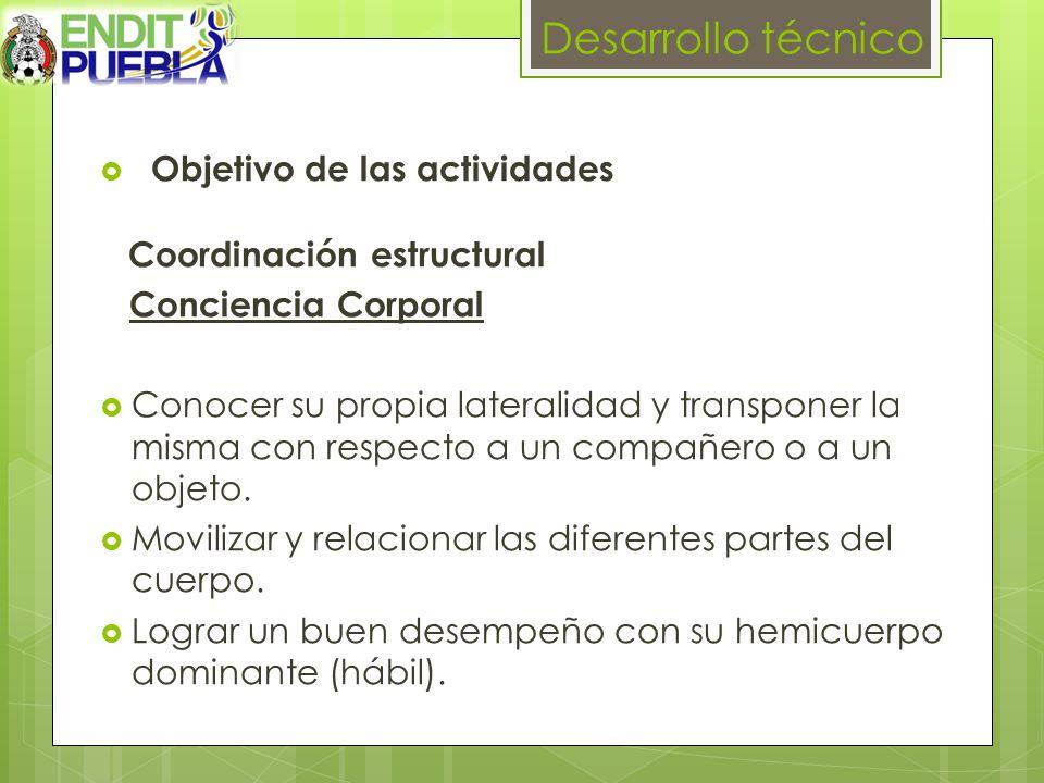 Desarrollo técnico Objetivo de las actividades