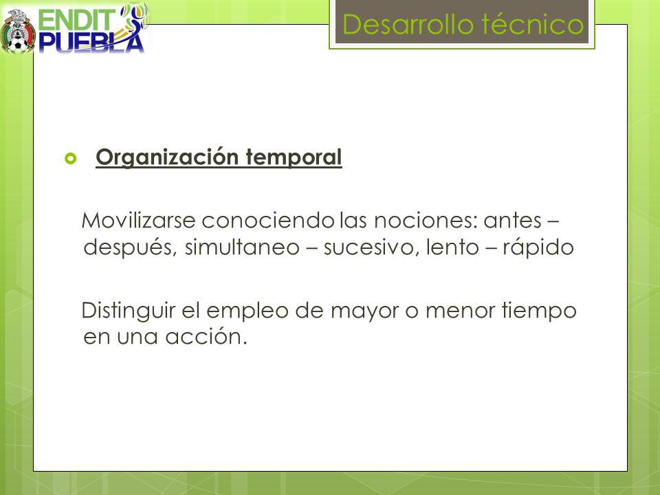 Desarrollo técnico Organización temporal
