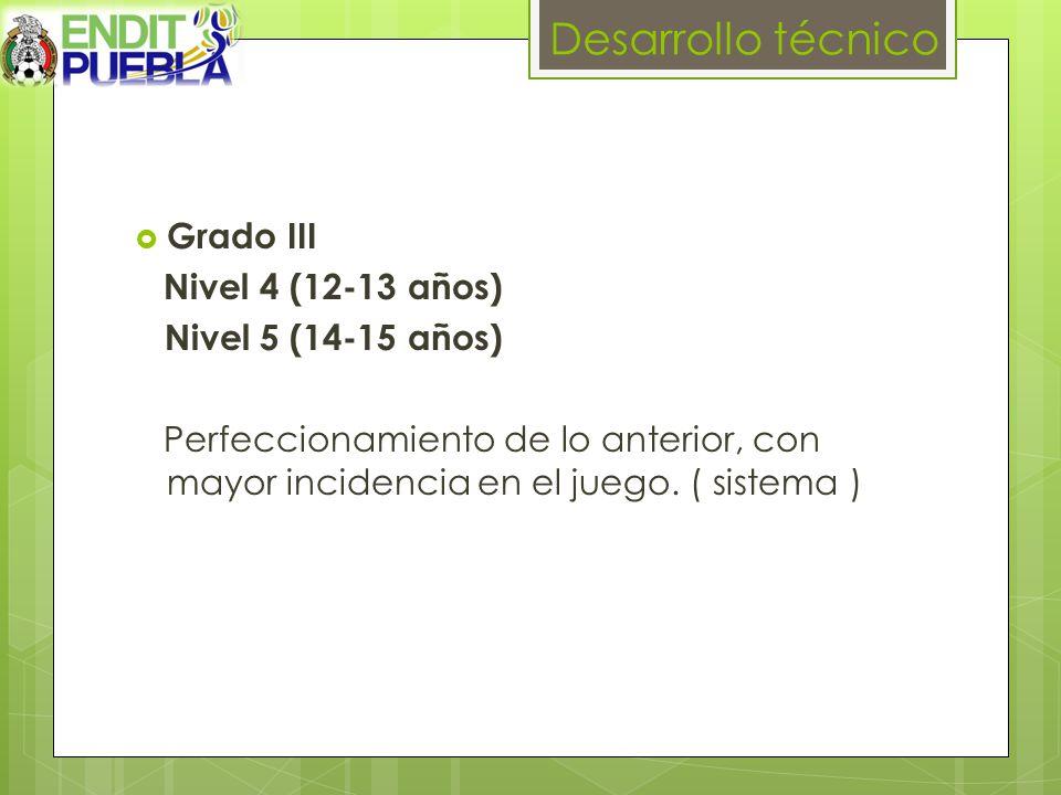 Desarrollo técnico Grado III Nivel 4 (12-13 años) Nivel 5 (14-15 años)