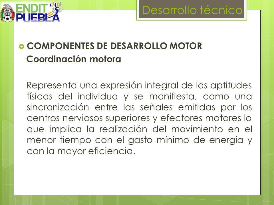 Desarrollo técnico COMPONENTES DE DESARROLLO MOTOR Coordinación motora