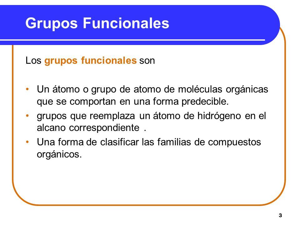Grupos Funcionales Los grupos funcionales son