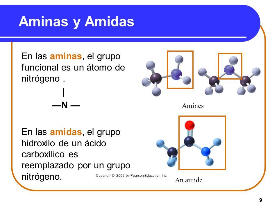 Aminas y Amidas En las aminas, el grupo funcional es un átomo de nitrógeno . | —N —