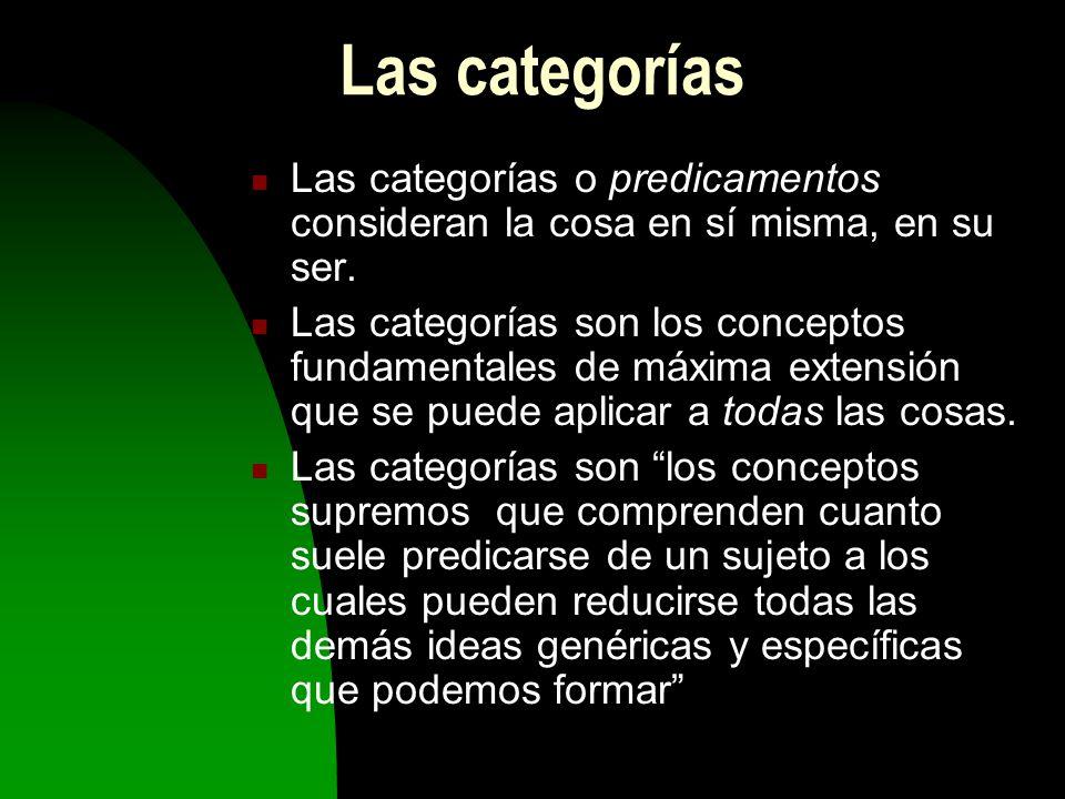 Las categorías Las categorías o predicamentos consideran la cosa en sí misma, en su ser.